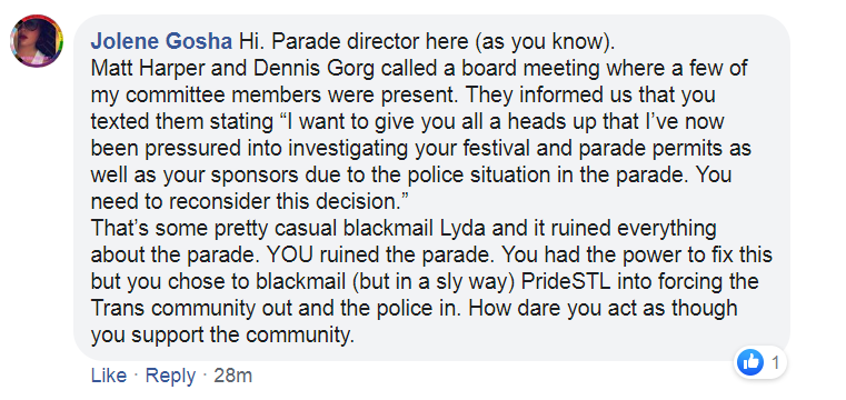 A Facebook comment Jolene Gosha posted on Mayor Krewson's page. - FACEBOOK