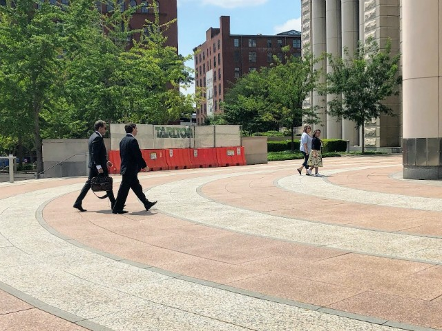 Steve Stenger and attorney Scott Rosenblum, left, arrive for the sentencing. - JAMES POLLARD