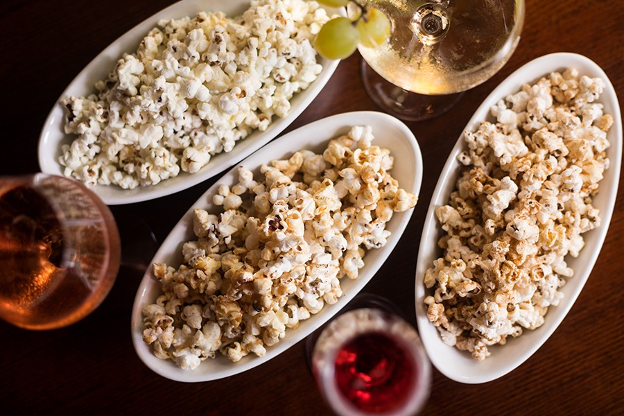 Pop, of course, features popcorn, seasoned with ras el hanout, double peanut or wasabi chive. - MABEL SUEN