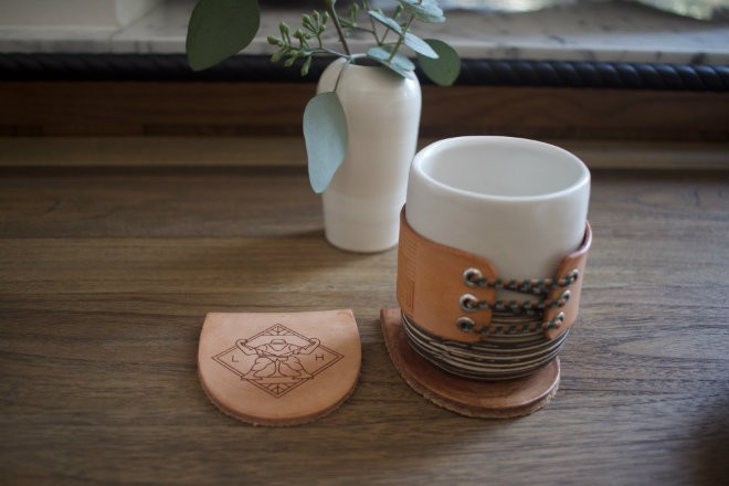 Coasters, made from the heels of shoes, are a thoughtful nod to the building's original occupant, the International Shoe Company. - CHERYL BAEHR