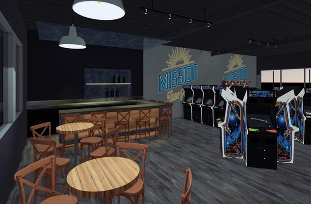 A rendering of the arcade and bar at Mission Taco Joint in Kirkwood, set to debut in early 2020. - COURTESY MISSION TACO JOINT