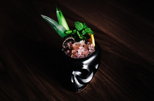 Numbskull Punch with Banhjez mezcal, Duckett Blue rhum, Aperol, blood orange, strawberry, pineapple, coconut cream and lime. - ANDREW TRINH PHOTOGRAPHY