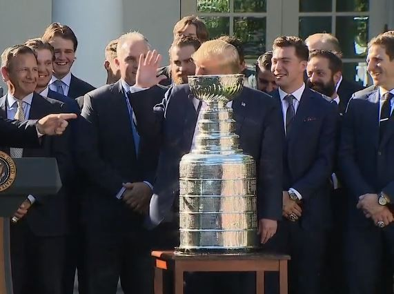 A thankfully fake auction ended with The Stanley Cup being sold to Donald Trump. - SCREENSHOT VIA WHITE HOUSE