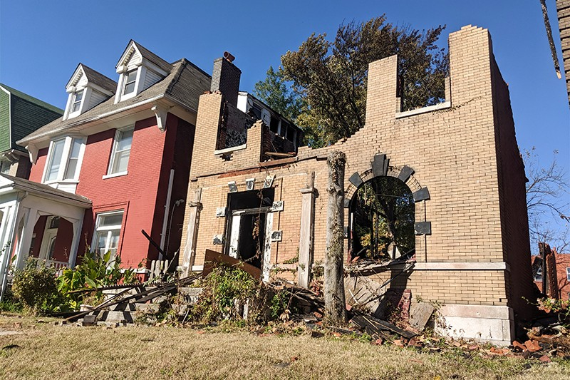 One of two vacant homes that burned this week on Enright Avenue. - DANNY WICENTOWSKI
