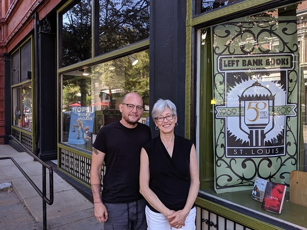Current owners Jarek Steele and Kris Kleindienst celebrate five decades of Left Bank Books on Friday. - JOSHUA PHELPS
