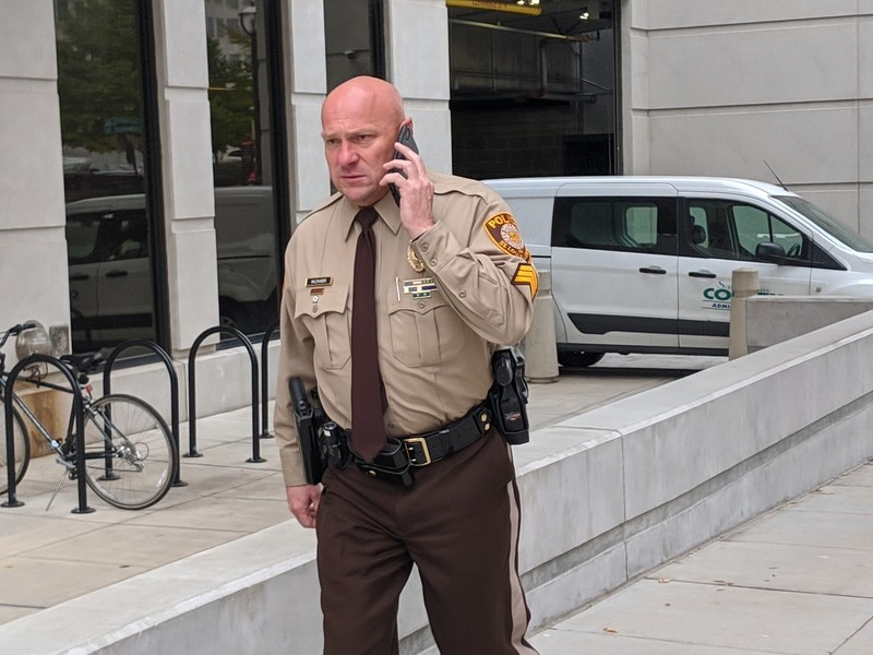 St. Louis County Sgt. Keith Wildhaber, several hours before a jury awarded him $19 million. - DANNY WICENTOWSKI