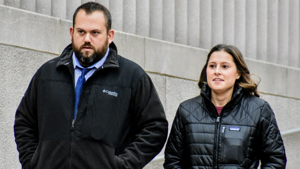Randy Hays and Bailey Colletta leave court in December 2018. - DOYLE MURPHY