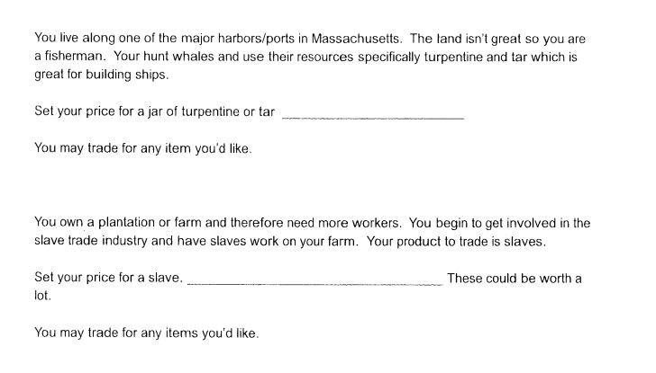 Students were asked to price and trade colonial-era commodities, including slaves. - MEHLVILLE SCHOOL DISTRICT