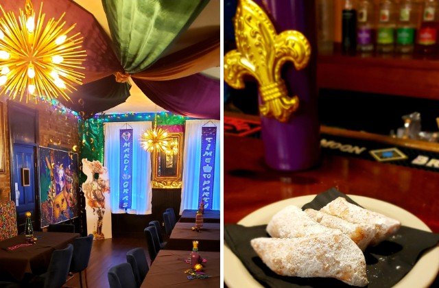 A peek inside Carnival (pictured left) and a plate of warm and fluffy beignets at the bar. - KRISTEN FARRAH