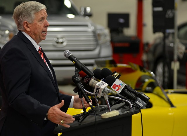 Missouri Governor Mike Parson addresses reporters in September 2018. - TOM HELLAUER