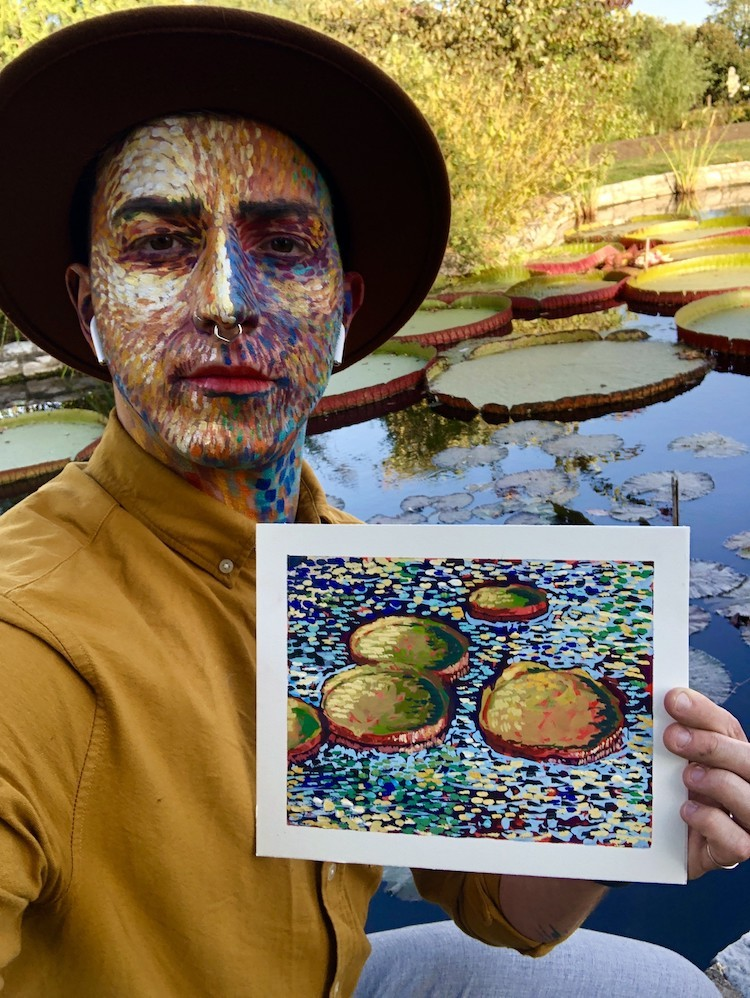 Holman paints his face and then matches his makeup for his October Series lineup. - NICHOLAS HOLMAN