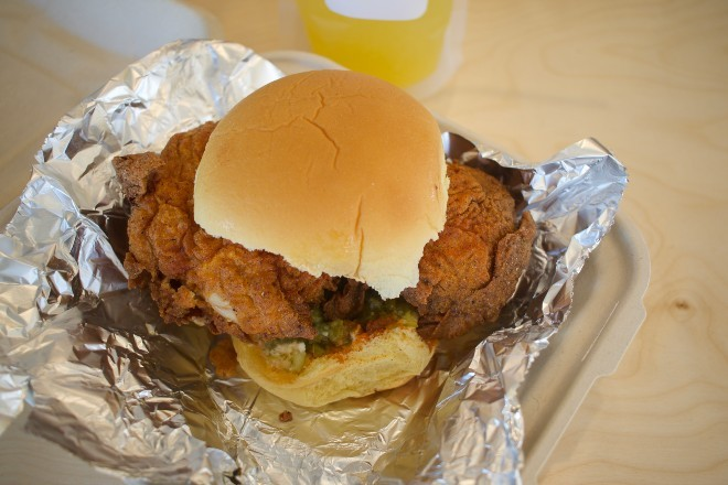 "The ""Rico Chicken Sandwich"" features seasoned breading, a potato roll and jalapeño pickle relish. - CHERYL BAEHR"