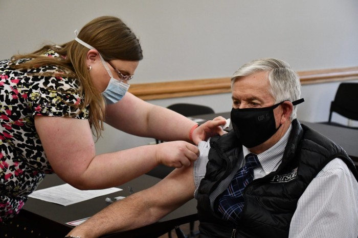 Gov. Mike Parson receives his second dose of the Pfizer vaccine at the Cole County Health Department on March 3, 2021. - COURTESY MISSOURI GOVERNOR'S OFFICE
