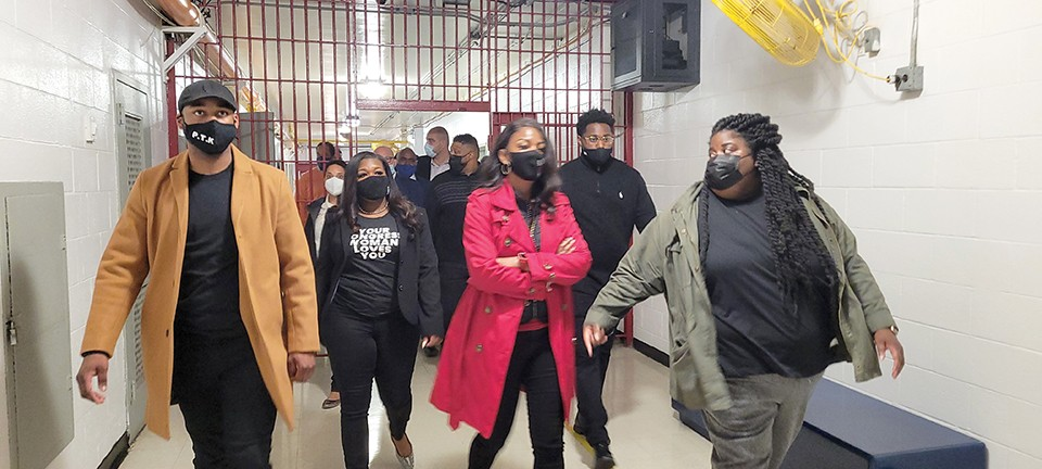 Rep. Cori Bush (center left) and Mayor Tishaura Jones (center right) toured the Workhouse during Jones' first week in office. - COURTESY MAYOR'S OFFICE