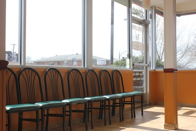 A row of chairs offers a spot to wait for your order. - PHOTO BY SARAH FENSKE