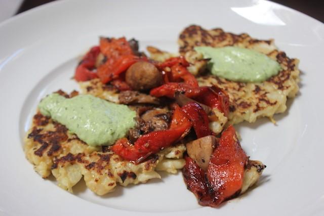 The crispy cauliflower latke is a fried cake combined shredded potatoes and cauliflower. - PHOTO BY SARAH FENSKE