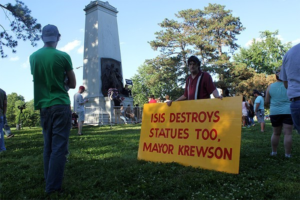 Bill Hannegan, who supports keeping the Confederate monument, had some choice words for Krewson earlier this month. Now the Missouri Civil War Museum is elbowing its way into the battle. - PHOTO BY DANNY WICENTOWSKI