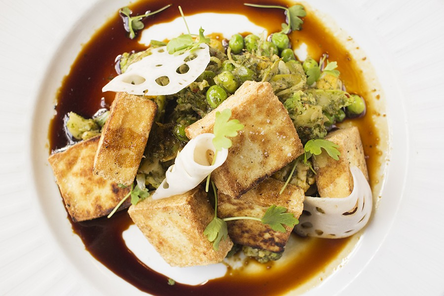 """Crispy Okabe"" is a terrific option for tofu eaters. - MABEL SUEN"