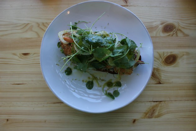 "The ""Prawn Panino"" with lemon aioli, watercress and fennel. - CHERYL BAEHR"