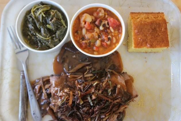 Roast beef, a top seller, comes with marrow bone mushroom gravy and crispy leeks. - CHERYL BAEHR