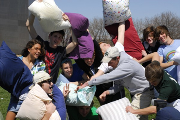 Pillow Fight Under the Gateway Arch