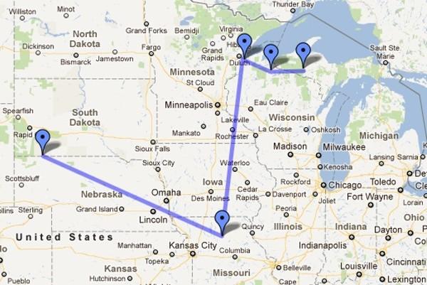 Thunder Bay Michigan Map.Meandering Missouri Mountain Lion Last Seen In Michigan News Blog
