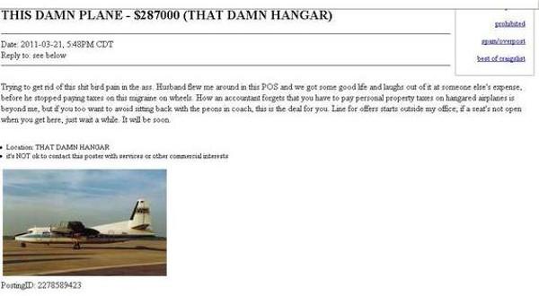 "Craigslist St Louis Missouri >> Claire McCaskill's ""Damn Plane"" Now For Sale on Craigslist   News Blog"