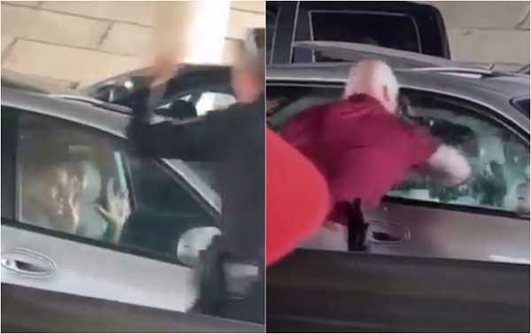 st  ann cop smashes car window to drag out passenger after