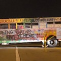 A School Bus Is Blocking a Boeing Entrance in St. Charles to Protest Yemen Airstrike