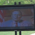 Presidents Bush 41 and 43 Beamed Into Webster University for Dedication