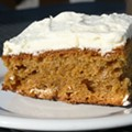 Try the Pumpkin Cake with Cream Cheese Frosting at Foundation Grounds