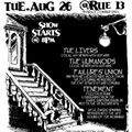 Failure's Union, Tenement, Humanoids cover set, the Livers! Tomorrow, August 26 at Rue 13