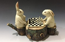 JIMMY LIU - Rabbits Playing Chess Teapot, part of Craft Alliance's new Identi-TEA exhibit.