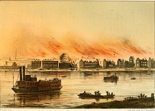 A German illustration of the St. Louis Fire of 1849.