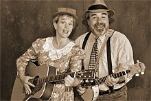 Pickin' and grinnin' and laughin': Deborah Sharn and Christopher Limber are Ma and Pa Sanders in Smoke on the Mountain.