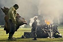 Mean, green, on the big screen: Hulk (Ed Norton) and Emil Blonsky (Tim Roth).