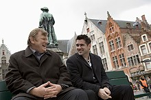 Brendan Gleeson and Colin Farrell take a breather from their mob ways In Bruges.