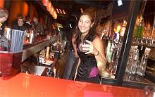 JENNIFER SILVERBERG - Bartender Melissa Bullard adds some sparkle to Red's Eastern European cuisine.