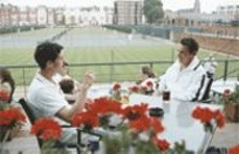 Matthew Goode (left) and Jonathan Rhys Meyers (right) are two sides of Match Point's love...parallelogram?