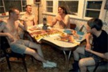 JENNIFER  SILVERBERG - Maxin' and relaxin': (left to right) Tom O'Neill, Mike Benker, Jim Winkeler and Chris Dee are the Conformists.