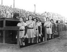 NEW  YORK - Women playing baseball in the war-time absence of - the Major Leagues? Can any of 'em play hockey?