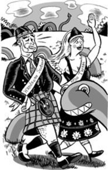 DAN  ZETTWOCH - Look at those Great Scots enjoying an early Tartan - Day.