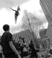 JENNIFER  SILVERBERG - Before the fall: The University of Louisville's pep - squad rallies in Kiener Plaza.
