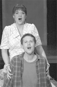 Bringing up Baby: Erika Hardy (standing) and - K.C. Comeaux (seated) shine in this terrific revival.