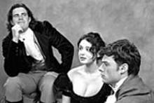 DAVID KILPER/WUSTLPHOTO SERVICES - (left to right) Lord Byron (Brian Stojack), Mary Goodwin - (Barrie Golden) and Percy Bysshe Shelley (Lee - Osorio) discuss Bloody Poetry on Sunday.
