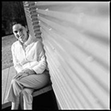 "JENNIFER  SILVERBERG - ""I've always wanted to make high-end modern design - affordable and easy to attain"": Romero, sitting outside - her LV home."