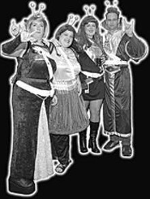 JENNIFER  SILVERBERG - The Drink-Ons (from left): Empress Inebria; Duchess - Libatia; Intoxicatia, the Duchess of  Vodka; and Admiral - Delirium Tremens get their drink on. -