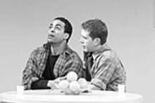 J. BRUCE SUMMERS - Psychological filler: Rashaad Ernesto Green (left) and - Jeremy Webb play their roles well, but at times - blue/orange seems ripped from a textbook.