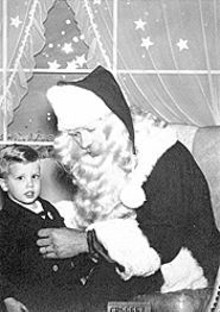 ALL PHOTOS COURTESY OF THE AUTHOR - The author as a three-year-old with a department-store Santa in Grand Rapids. Adopted from a Kalamazoo orphange at three months, he grew up an only child.
