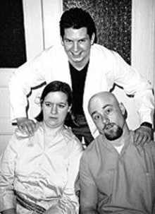 Blaine Smith (rear), Emily Beck and Gary Sohn in Seeking Asylum
